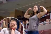 근육 자랑 男, 근육 女 등장에 '깨갱'