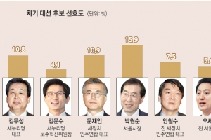 [단독] [여론조사] 차기 대선 후보 선호도 - 박원순 15.9%… 여야 통틀어 1위