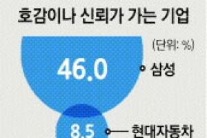 """""""가장 신뢰가는 기업은 삼성"""" 46%"""