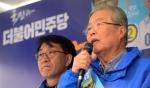 [서울포토] 더민주 총선 출정식서 선거유세하는 김종인 대표