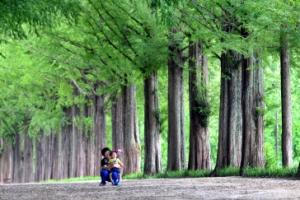 [한 컷 세상] 할머니는 아이에게 큰 나무를 보여줍니다
