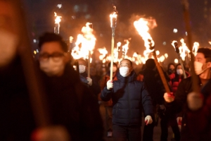 [서울포토] 분노하는 촛불민심, 횃불들고 행진하는 시민들