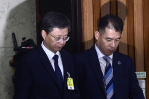 [서울포토] 청문회장으로 들어서고 있는 우병우 전 청와대 민정수석