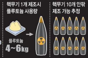 北, 플루토늄 50여㎏ 보유…핵폭탄 10개 제조 가능