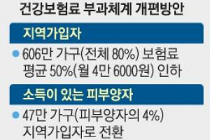 지역가입 606만 가구 건보료 절반으로 낮춘다