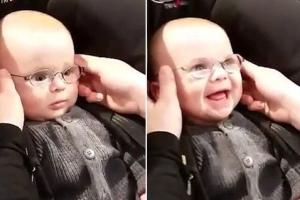 '제 엄마 맞아요?' 안경 끼고 난생 처음 부모와 눈 맞춘 아기