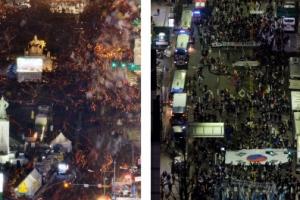 17차 촛불집회 VS 태극기 집회…박 대통령 취임 4주년에 '맞불'