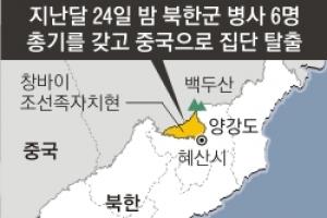 北 무장탈영병 6명 또 집단 탈북… 中, 지린성 대대적 수색