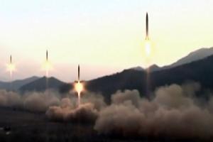 북한 중앙TV, '주일미군 타격' 미사일 발사 영상 공개