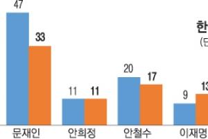 호남서 문재인 33·안철수 17·이재명 13·안희정 11%