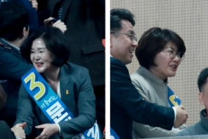 민주당 호남경선 열기 '후끈'…文-安 후보자 부인 마주치자