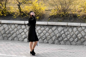[포토] 개나리 활짝 핀 평양 거리를 걷는 북한 여성