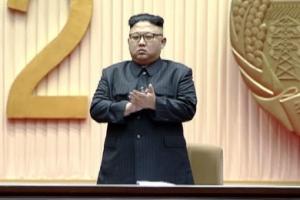 北, 김일성 105돌 생일 경축 보고대회…김정은 '꾸벅'