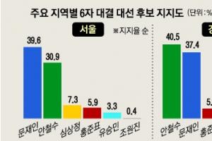 [서울신문·YTN, 엠브레인 여론조사] TK 安, 文에 4.9%P 앞서… 호남 文, 安에 14%P 우…