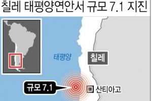'불의고리' 칠레 태평양연안서 규모 7.1 지진…주민 긴급대피