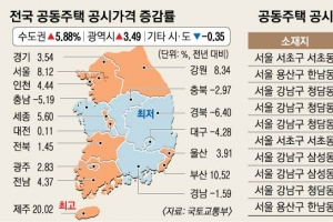 공동주택 가격, 제주 20%·부산 10% 올랐다