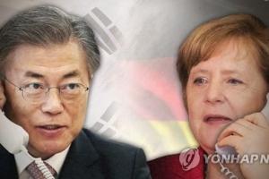 """문 대통령, 메르켈 독일 총리와 첫 통화서 """"한반도 평화통일 지지 기대"""""""