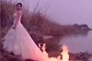 완벽한 결혼사진  촬영하려 웨딩드레스 불 붙인 신부