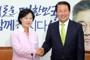 [서울포토] 추미애 대표 예방한 박주선 비대위원장