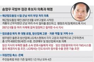 """커지는 野 '송영무 불가론'… 宋 """"방산지식 등 자문에 응했을 뿐"""""""