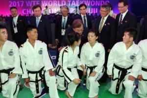 [포토] '멋진 태권도 부탁드립니다~!'…WTF 세계태권도선수권대회 개막