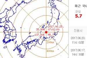 일본 나가노현서 규모 5.7 지진…쓰나미·원전피해 우려 없어