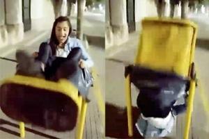 쓰레기통에 걸터앉으려던 여성의 굴욕