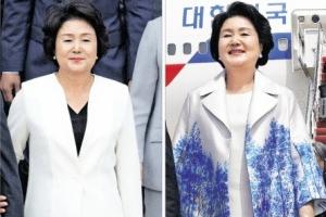 김정숙 여사 패션 키워드는 '파란색·한국의 美'