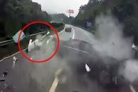 中, 충돌사고 차량서 튕겨나간 승객 기적적 생존