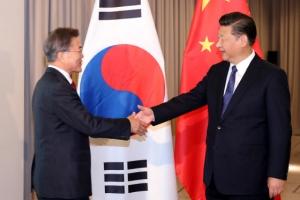"""[속보] 文대통령 """"한중협력, 北비핵화·평화체제 구축 중요""""...시진핑과 첫 정상회담…"""