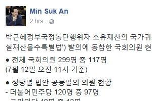 안민석, '최순실 재산몰수법' 발의 동참 정당별 의원 수 공개