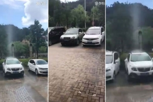 차량 한 대에만 떨어지는 희한한 빗줄기, 과연 진실은?