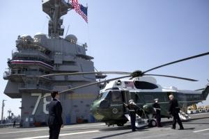 """'슈퍼 핵항모' 탄 트럼프… """"미국 힘은 최강"""""""