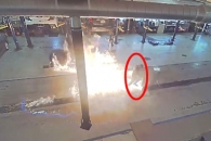 기름 쏟은 바닥 청소 중 폭발한 바닥세척기