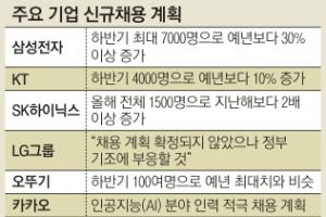 삼성 7000명·SK하이닉스 800명 하반기 채용