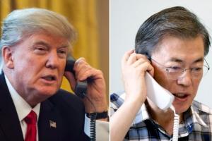 """文대통령과 통화한 트럼프 트위터에 """"대북 결의안 기뻐"""""""