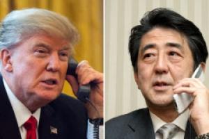 트럼프-아베 전화 통화…北 괌 겨냥 미사일위협 대응 논의