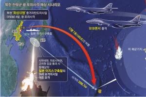 北미사일 발사 17분 후 괌 상공 →美 사드요격 → B1B 보복 대응