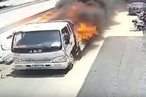 불붙은 트럭…추가피해 막은 운전사의 빠른 대처