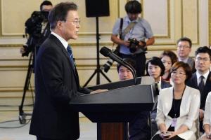 [서울포토] 문재인 대통령, 취임 100일 기자회견