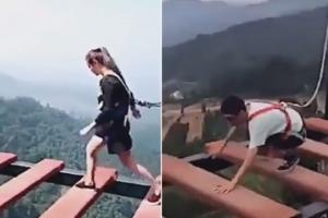 고공 다리 걷기 극명한 차이 보이는 남녀 영상 화제