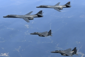 F-35B 스텔스기 4대·B-1B 2대 동시출격…MDL 인근까지 비행
