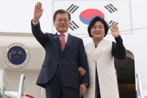 [서울포토] 뉴욕 도착한 문재인 대통령과 김정숙 여사