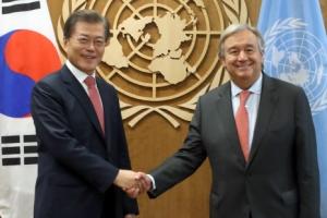 文대통령, 구테흐스 유엔총장에 '북핵' 대화 중재 요청