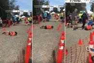 탈진해 쓰러진 여성 굴러서 마라톤 결승선 통과해