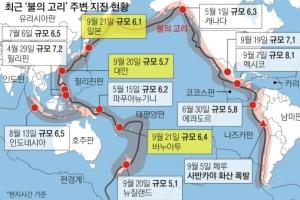 '불의 고리' 깨어났나… 일본·대만 등 이틀간 5곳 연쇄 강진