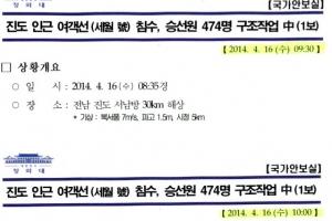 """靑 """"세월호 첫 보고시점 '30분 뒤로' 사후조작"""""""