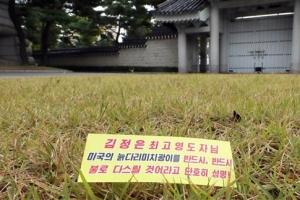청와대 춘추관 앞마당에서 '북한 삐라' 발견