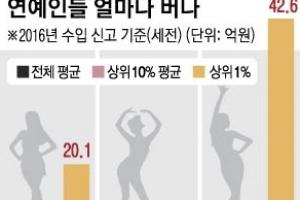가수>배우… 연예인 소득 격차 '하늘과 땅'