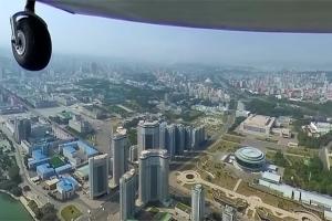 하늘에서 내려다본 평양…평양 상공 360도 영상 공개
